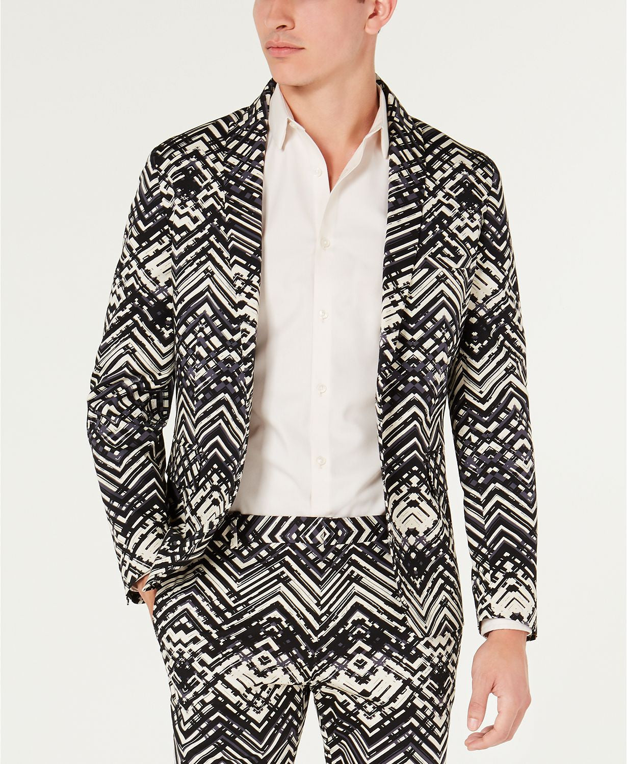 Inc International Concepts Slim-fit Abstract Suit Separates Black Combo