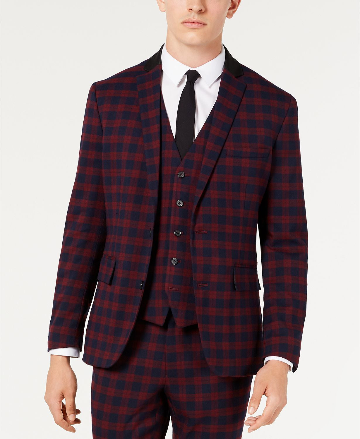 Inc International Concepts Slim-fit Tartan Blazer Burgundy Combo