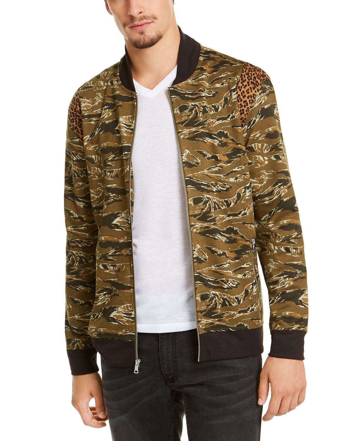 Inc International Concepts Vices Abstract Camouflage Print Bomber Jacket Dark Olive