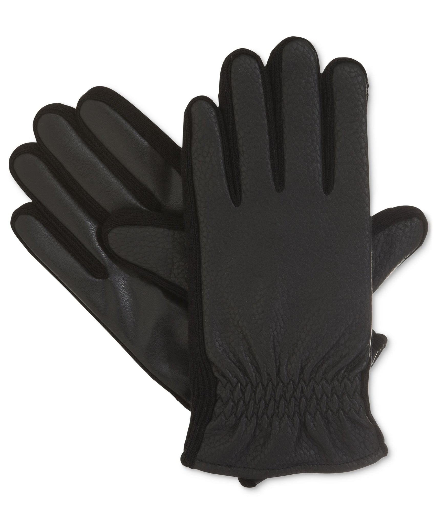 Isotoner Signature Black THERMAflex™ SmarTouch Textured Stretch Glove With Gathered Wrist