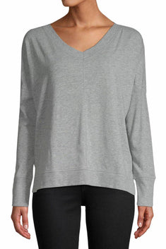 Jane and Bleecker Grey V-Neck Long-Sleeve Sleep Top