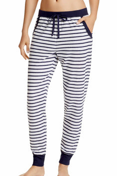 Jane and Bleecker Navy/White Stripe Lounge Jogger Pant