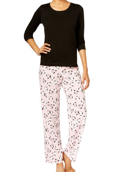 Jenni By Jennifer Moore Black/Pink Penguins Knit Top & Printed Pant Pajama Set