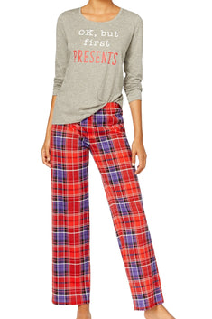 Jenni By Jennifer Moore Holiday-Plaid Knit Top & Printed Pant Pajama Set