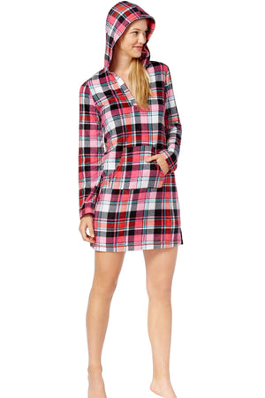 Jenni By Jennifer Moore Red-Plaid Hooded Fleece Sleepshirt