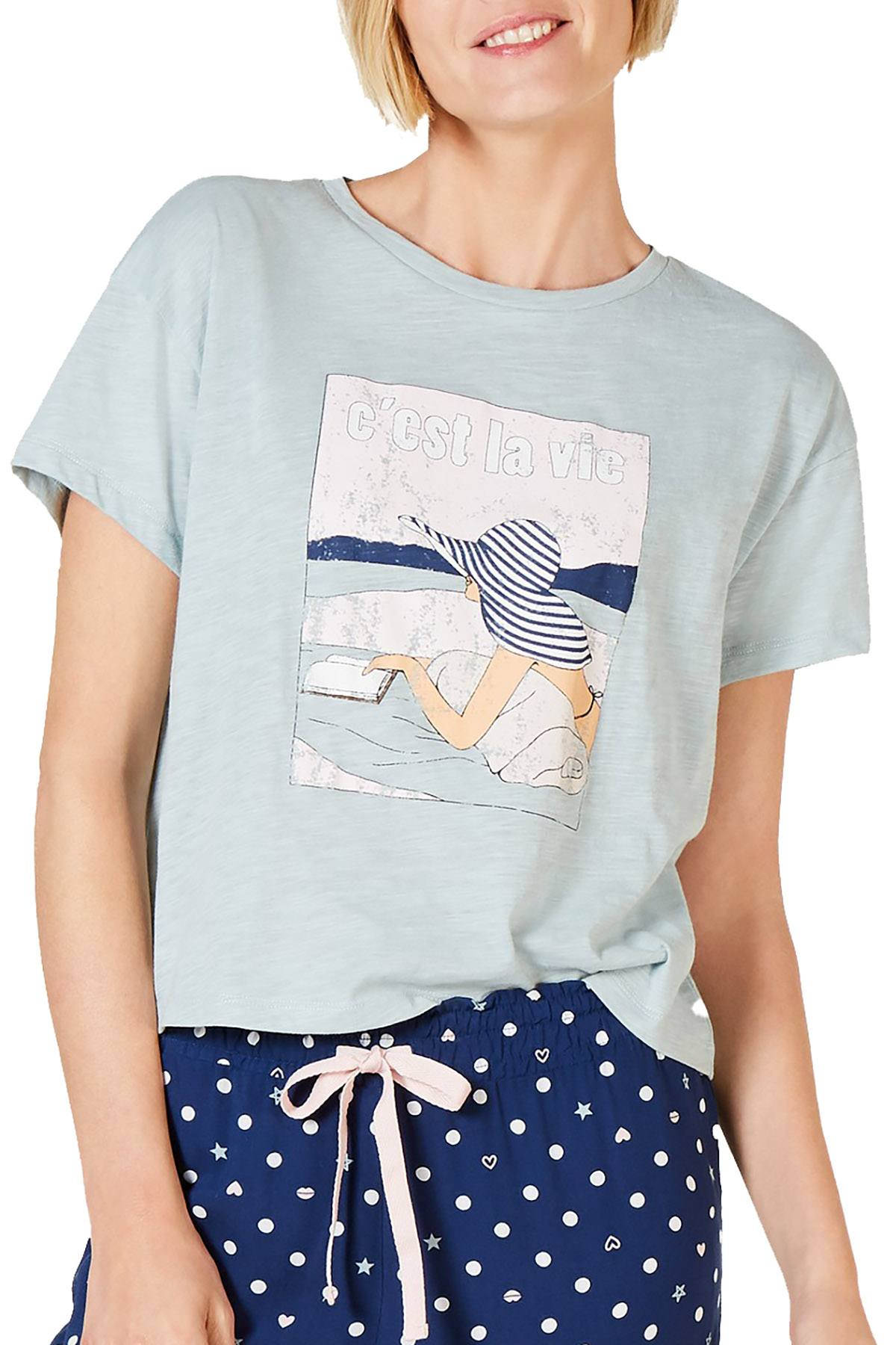 Jenni Graphic Print Crop Tee in Cest La Vie Seaglass