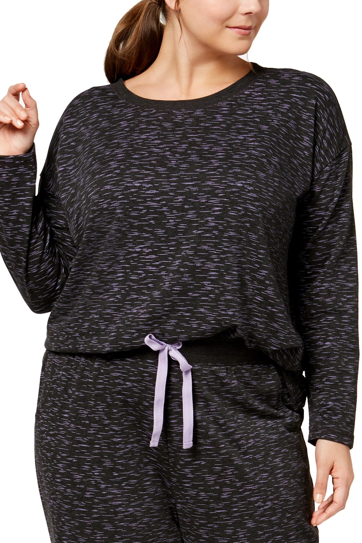Jenni PLUS Printed Lounge Top in Charcoal/Purple Space-Dye