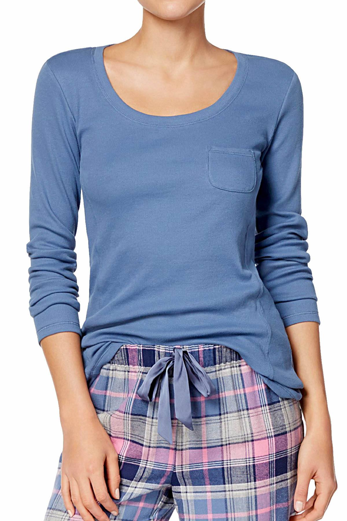 Jenni Ribbed Lounge Top in Blue Skyline