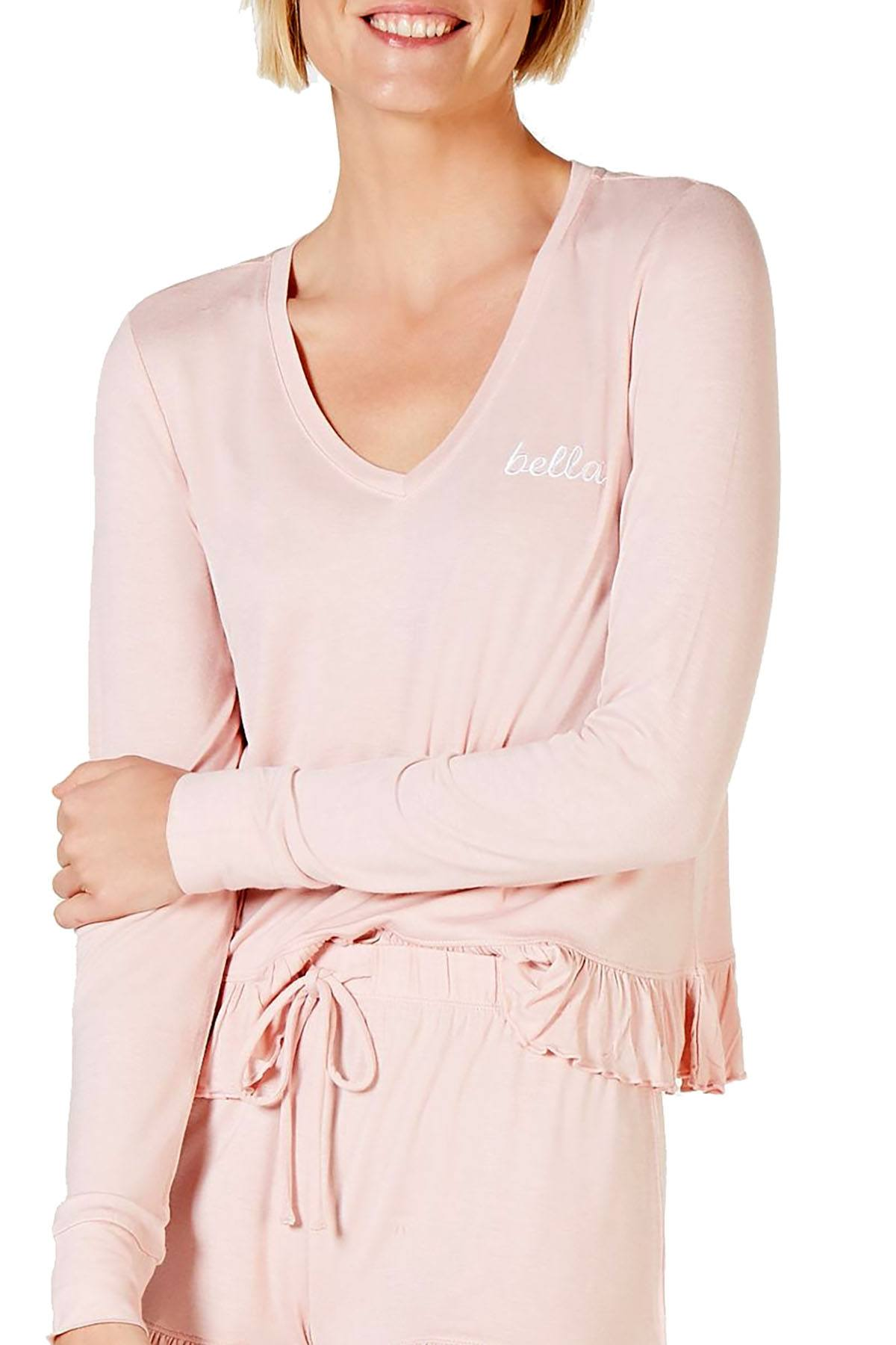 Jenni Ruffled Long Sleeve Top in Bella Peachskin