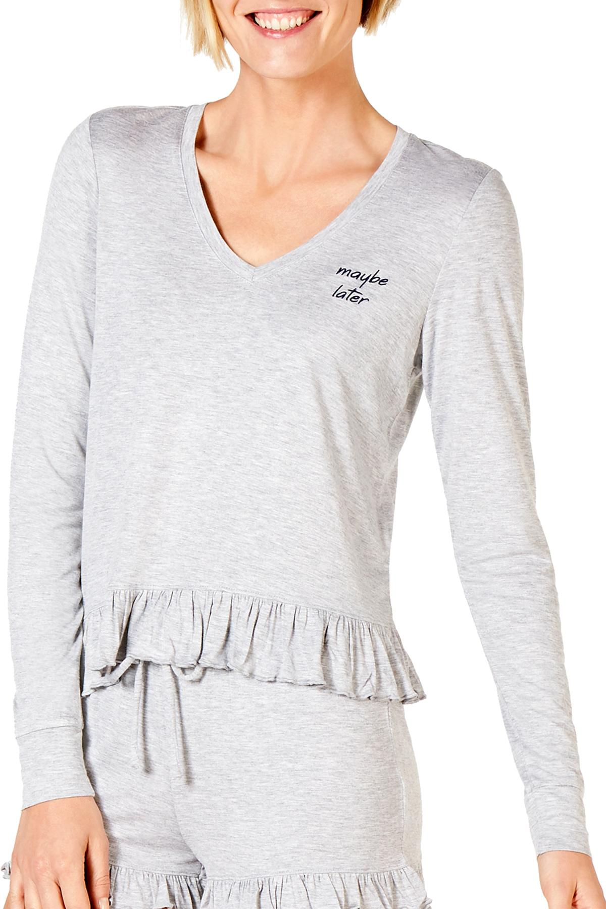 Jenni Ruffled Ultra Soft Knit Lounge Top in Maybe Later Heather Grey