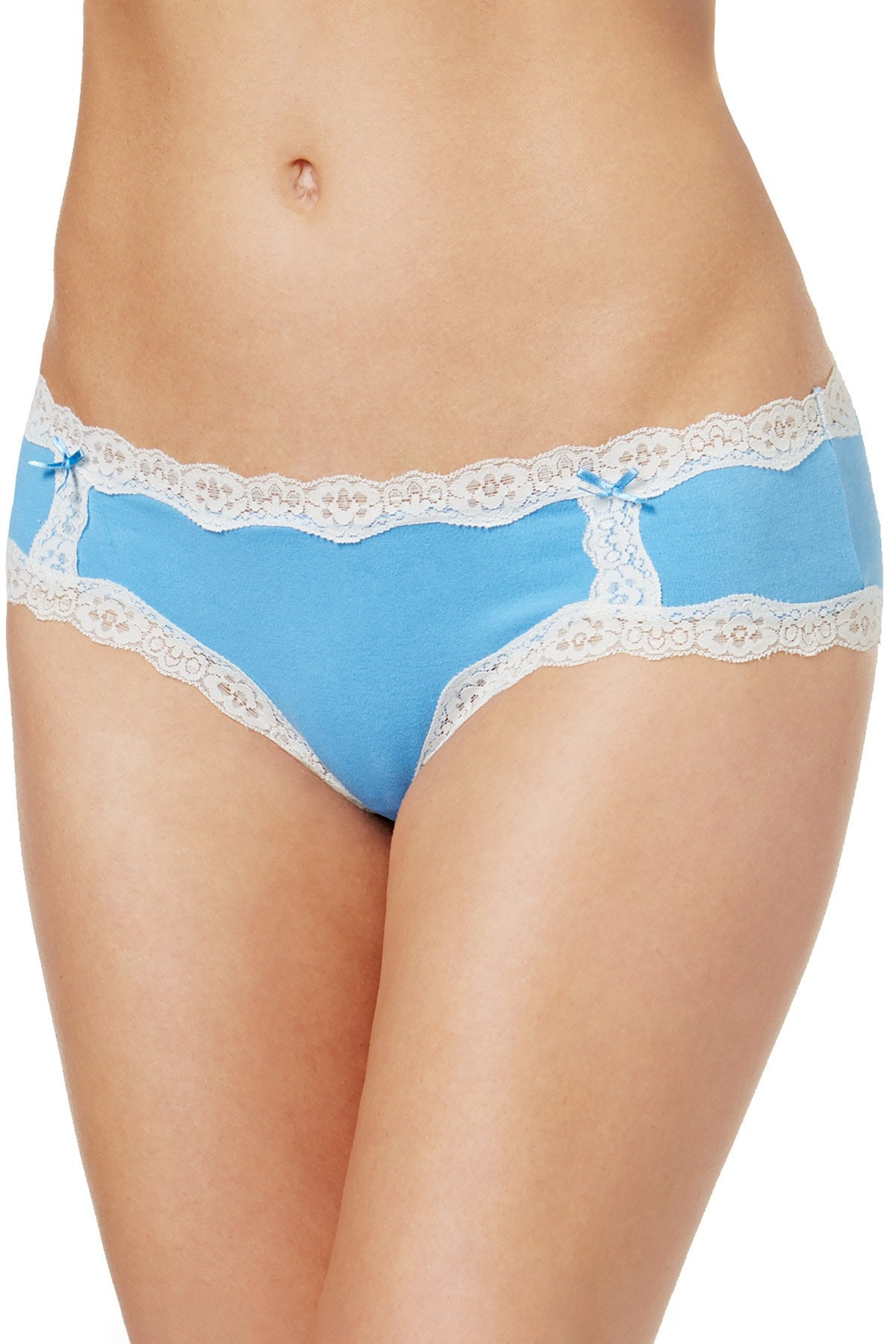 Jenni by Jennifer Moore Blue Cotton Lace Trim Hipster
