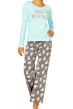 Jenni by Jennifer Moore Blue/Grey Party-Pugs Printed Pajama Set