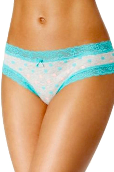 Jenni by Jennifer Moore Grey/Turquoise Multi-Dot Lace-Trim Hipster - CheapUndies.com