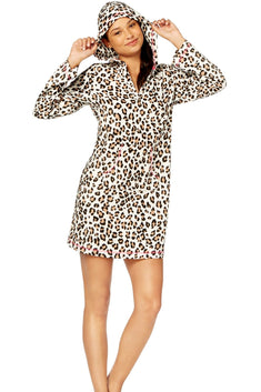 Jenni by Jennifer Moore Leopard Fleece Hooded Sleepshirt