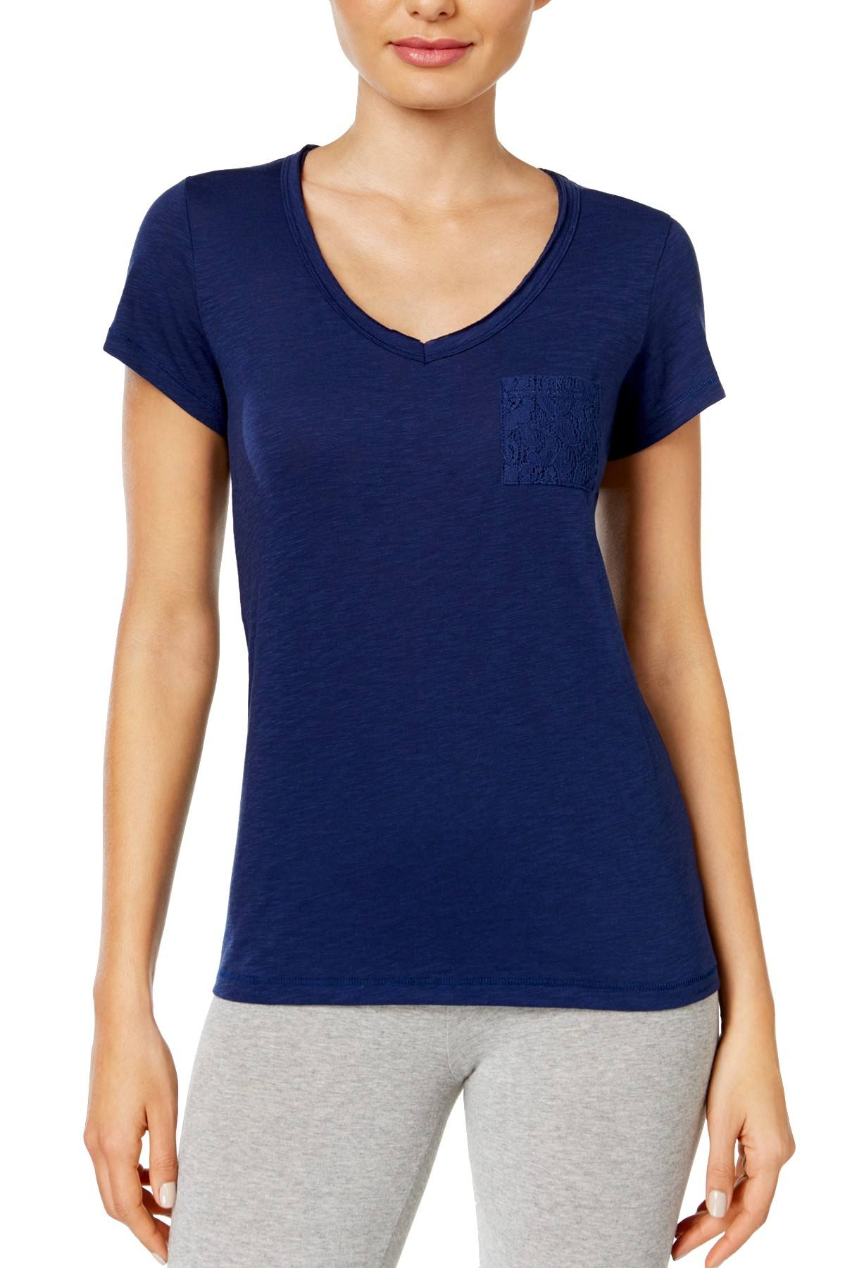 Jenni by Jennifer Moore Navy-Sea Lace-Pocket Lounge Top