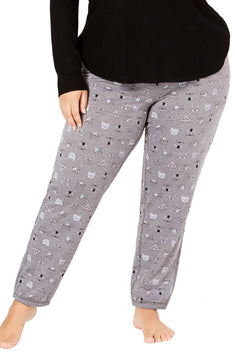 Jenni by Jennifer Moore PLUS Grey Hipster-Cats Brushed Terry Pajama Pant