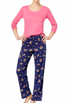 Jenni by Jennifer Moore Pink/Navy Otter-Love Knit Top & Printed Pant PJ Set