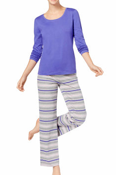 Jenni by Jennifer Moore Purple/Grey Sleepy-Stripe Knit Top & Printed Pant PJ Set
