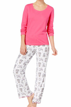 Jenni by Jennifer Moore Tangled-Cats Top & Printed Fleece Pant Pajama Set