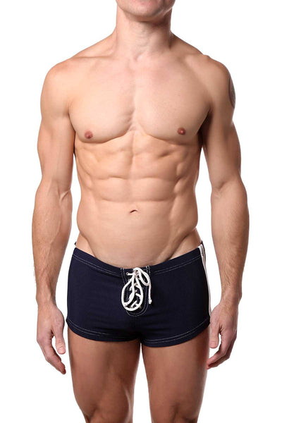 Jocko Navy/White Ribbed Rex Swim Trunk - CheapUndies.com