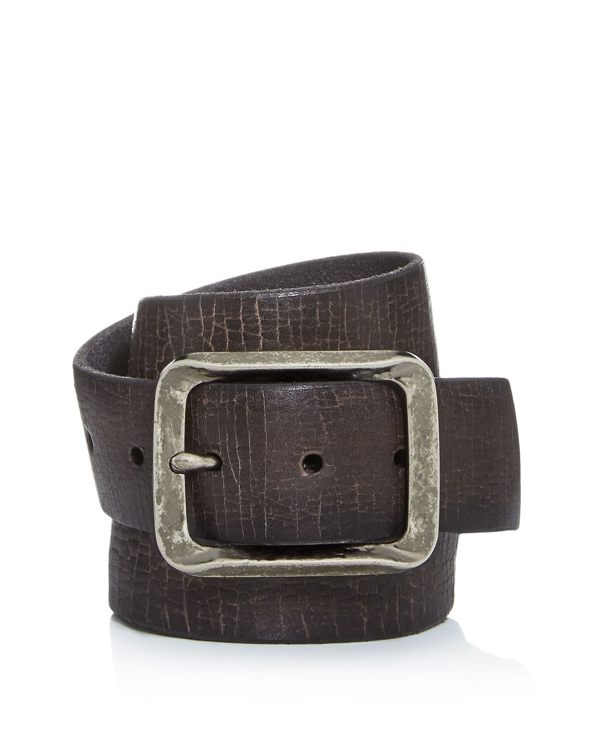 John Varvatos Star Usa Crackled Leather Belt Gray