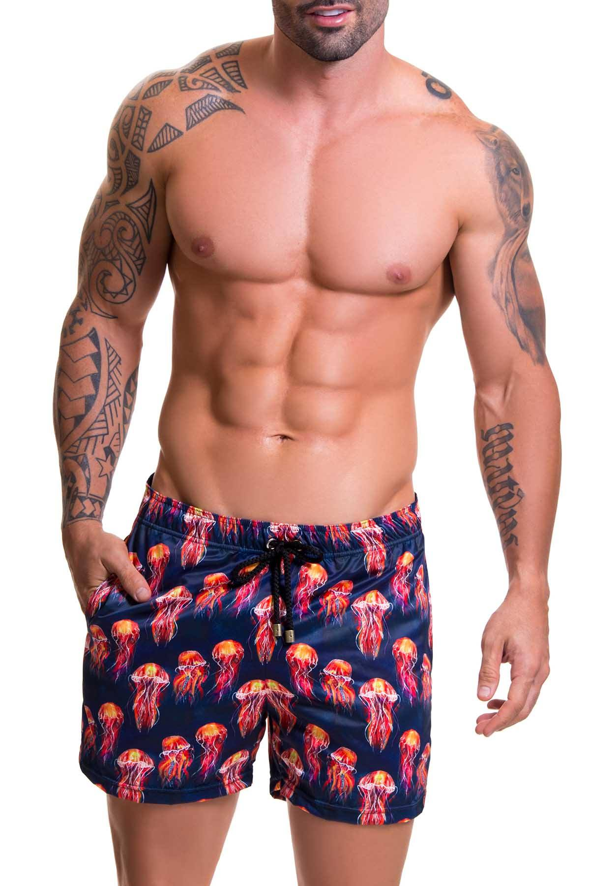Jor Navy/Red Jellyfish-Printed Beach Swim Short