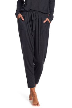 Josie by Natori Heather-Granite Cropped Jogger Lounge Pant