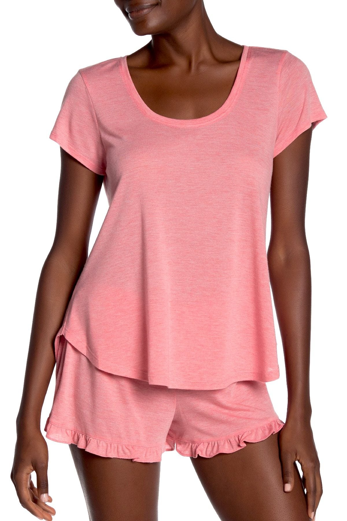 Josie by Natori Heathers Modal Short Sleeve Top in Coral