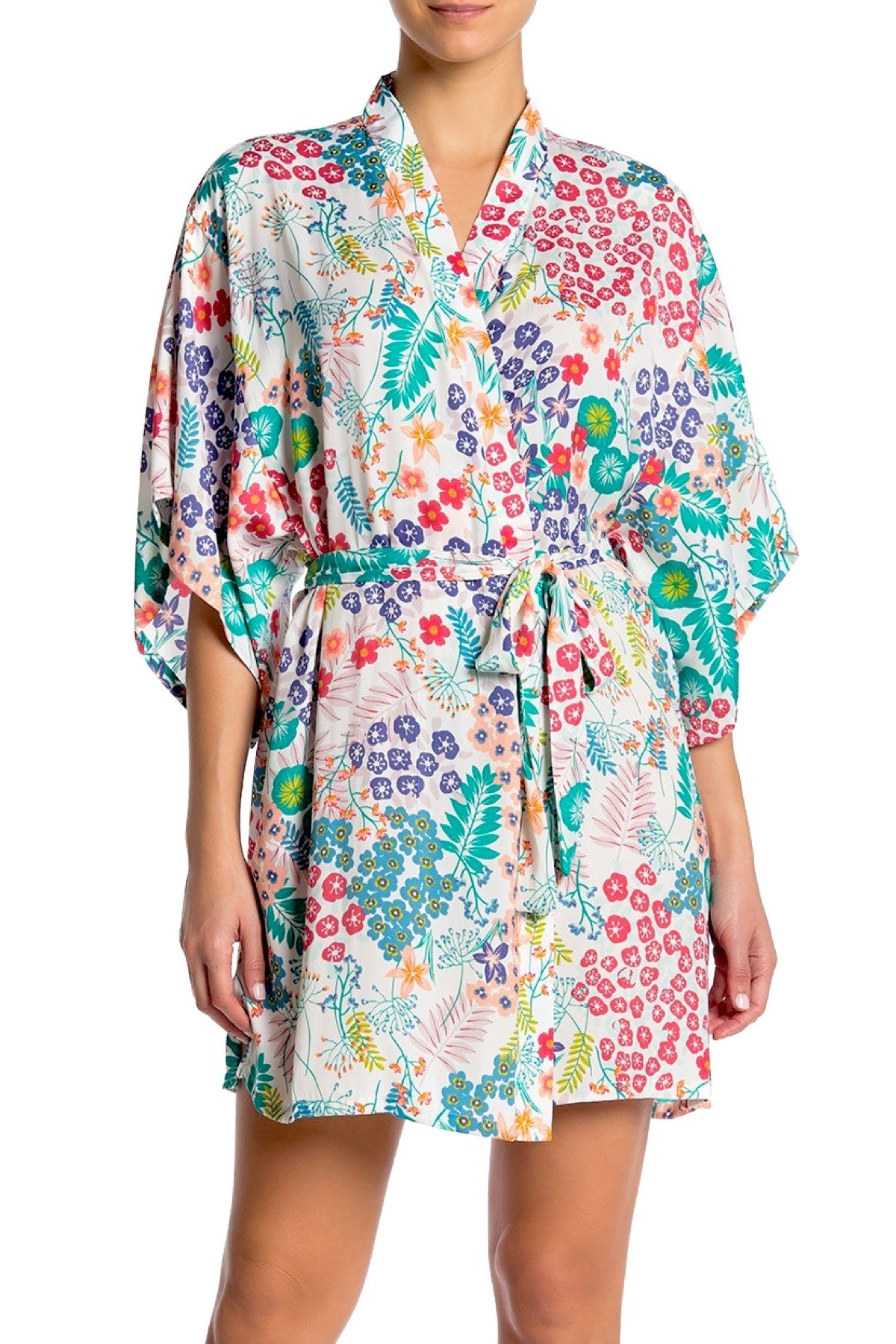 Josie by Natori Lotus Bouquet Kimono Wrap Robe in White/Multi