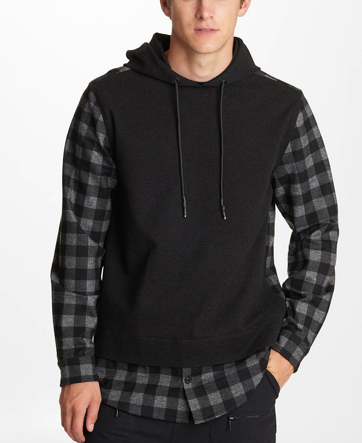 Karl Lagerfeld Solid And Plaid Hooded Twofer Black