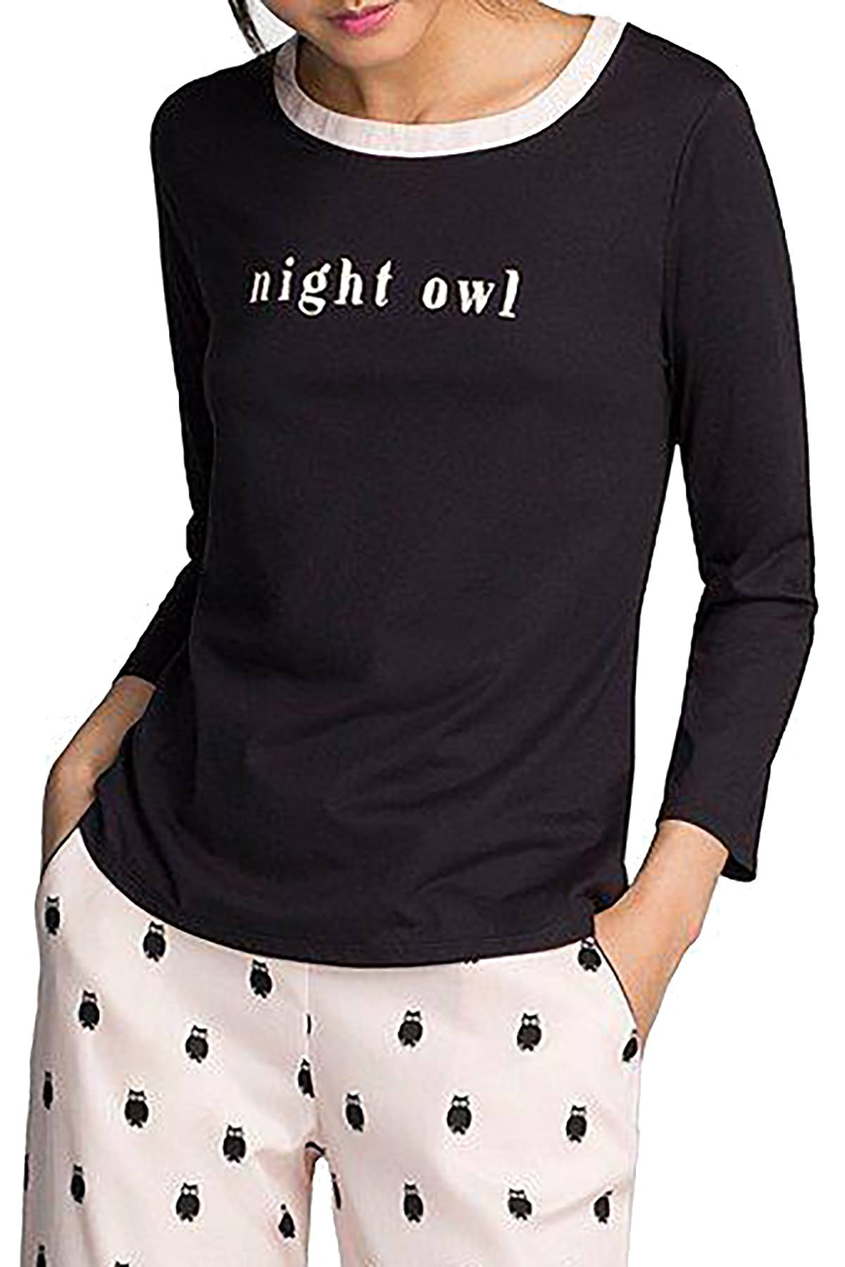Kate Spade New York Black Night-Owl Long-Sleeve Lounge Tee