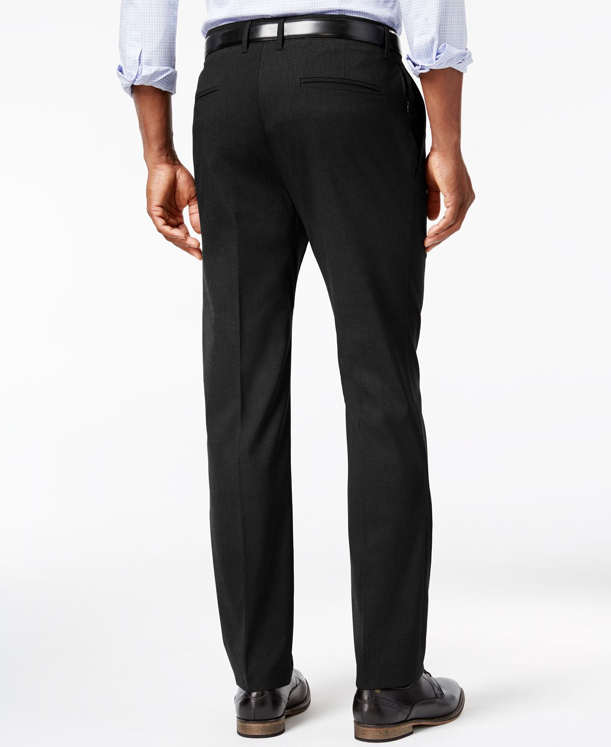 Kenneth Cole Reaction Stretch Athleisure Slim-fit Dress Pants Black