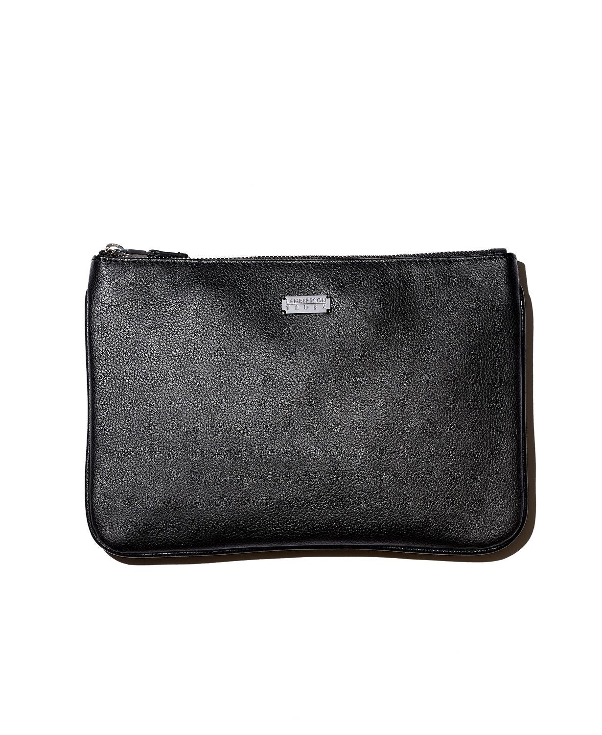 Lambertson Truex Large Pebbled Leather Zip Pouch Black