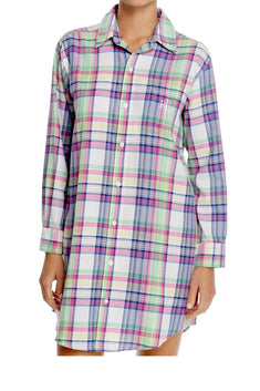 Lauren Ralph Lauren Green/Purple Portofino Brushed Twill His Sleepshirt