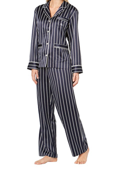 Lauren Ralph Lauren Navy-Stripe Satin Logo-Pocket Pajama Set