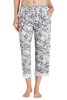 Layla Grey/White Sweet Things Printed Capri Pajama Pant