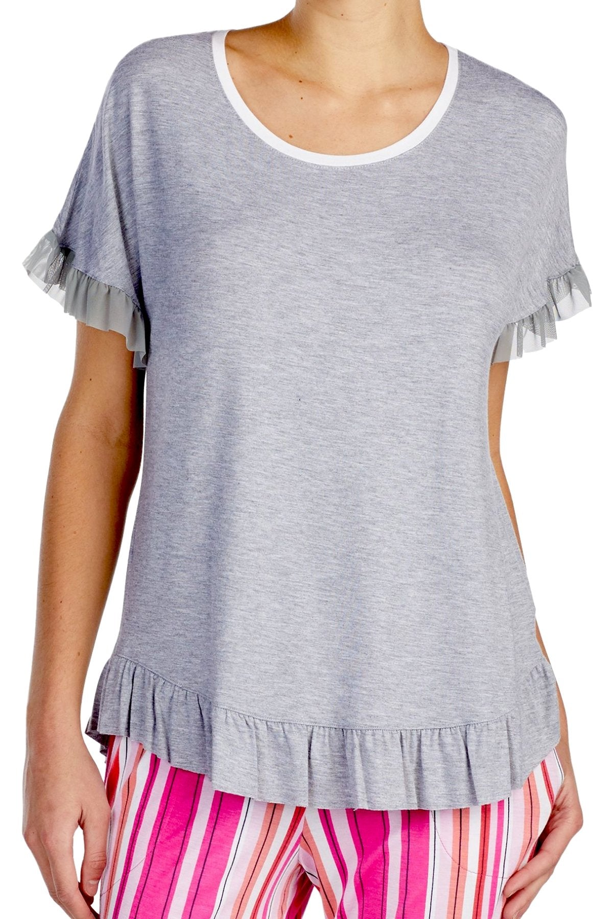 Layla Heather-Grey Ruffled-Trim Lounge Top