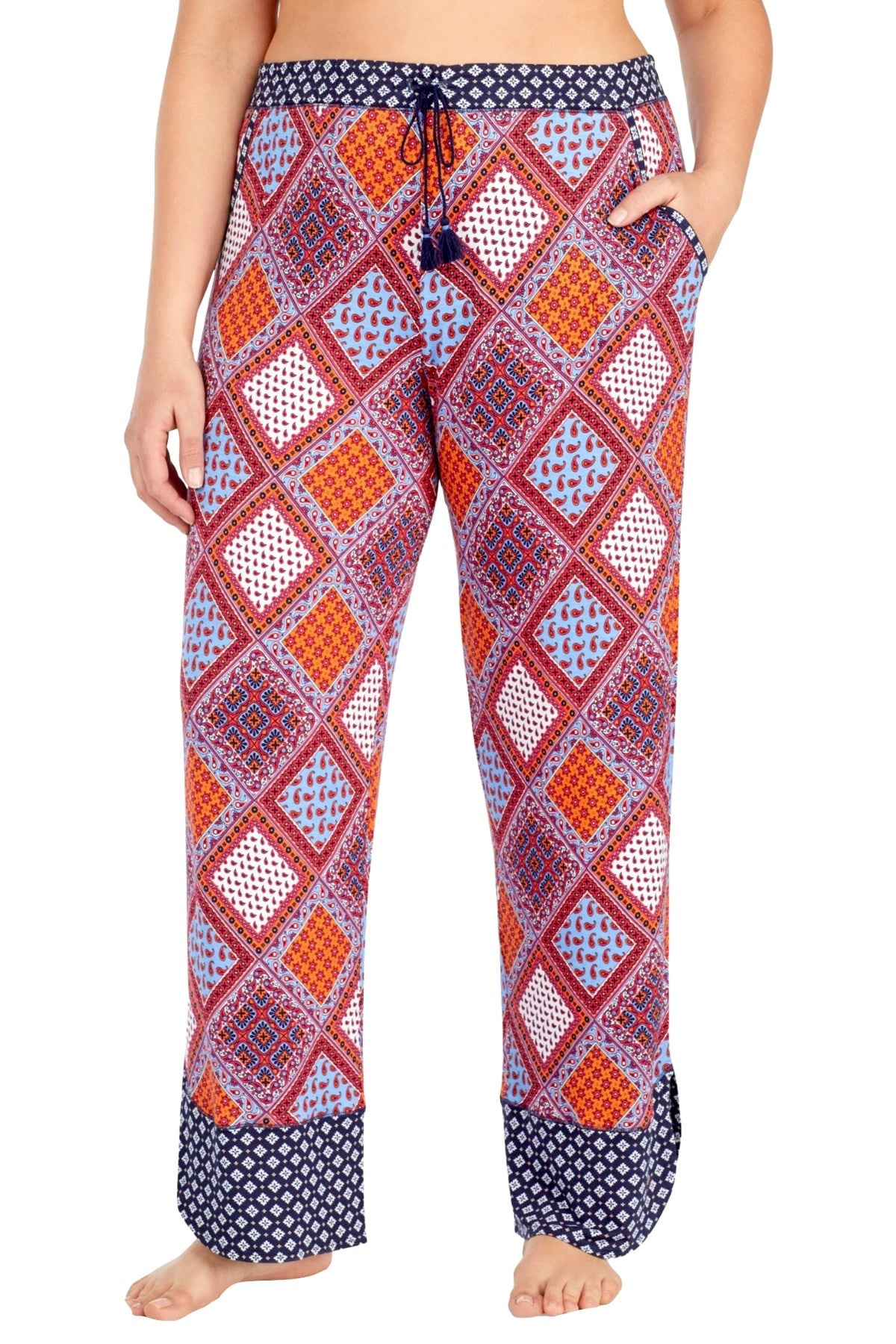 Layla PLUS Red/Multi Printed Drawstring/Tassle Lounge Pant