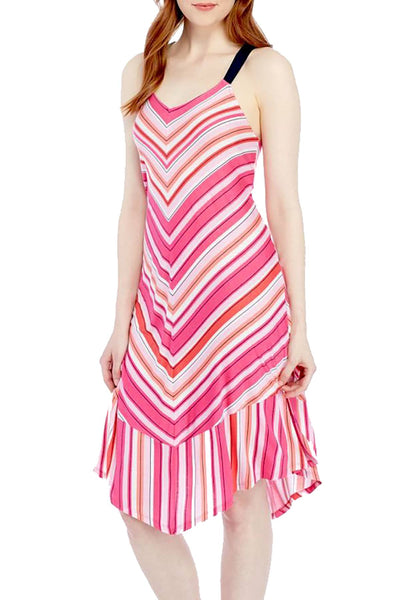 Layla Pink V-Striped Nightgown - CheapUndies.com
