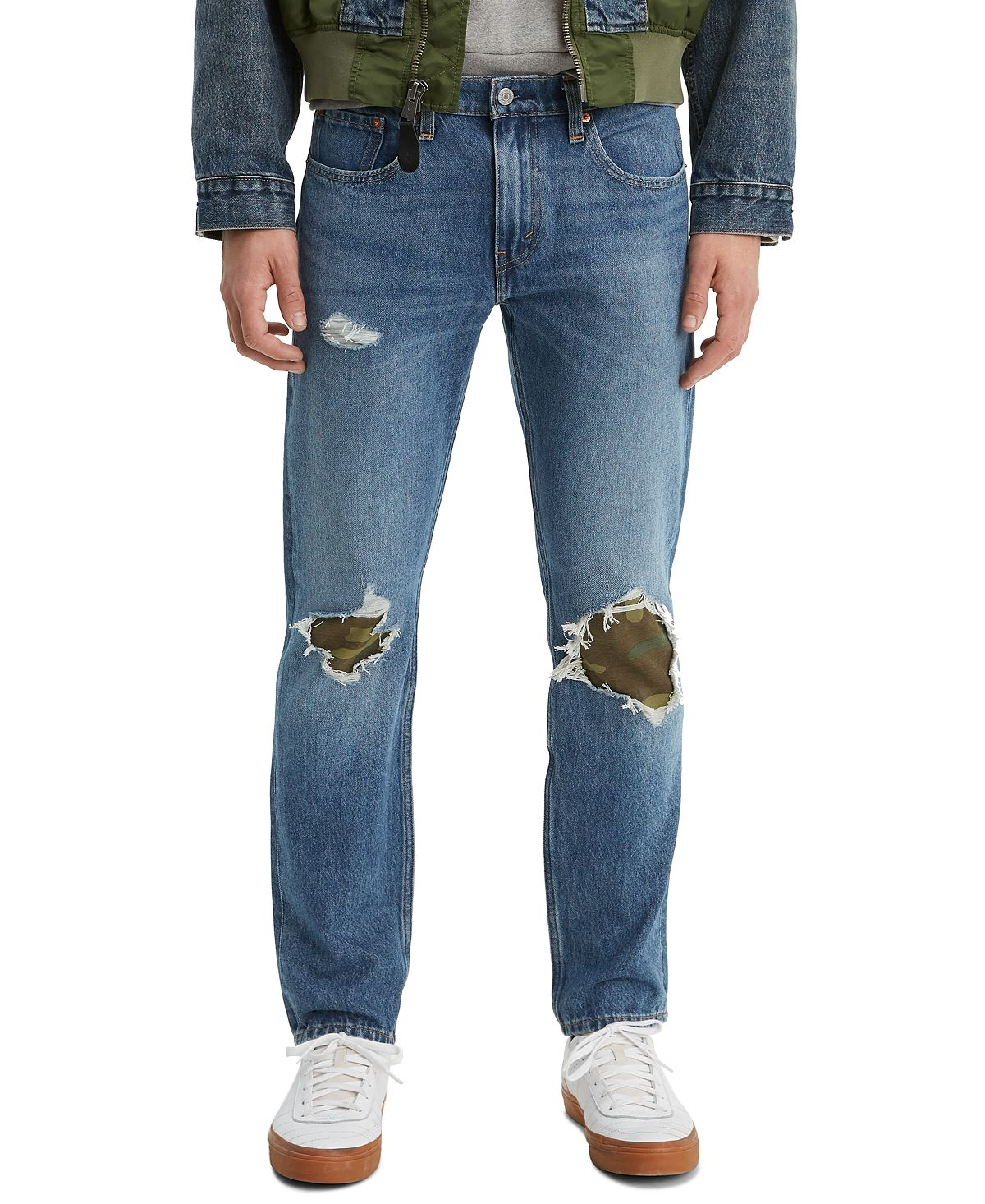 Levi's 502 Tapered Fit Ripped With Camo Print Repair Jeans E Collins