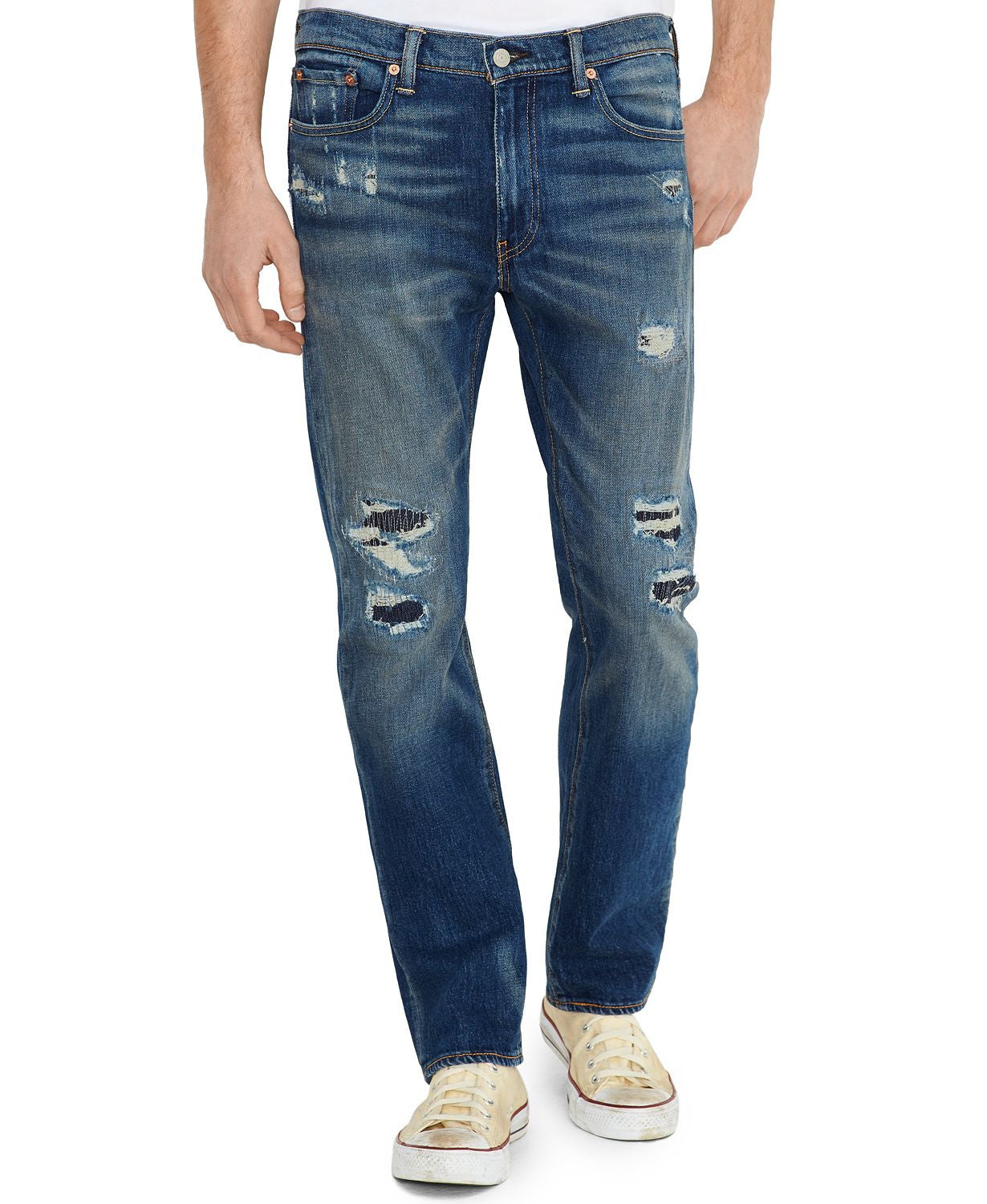 Levi's 513 Slim Straight-fit Coburns Cut Premium Wash Ripped Jeans Coburns Cut
