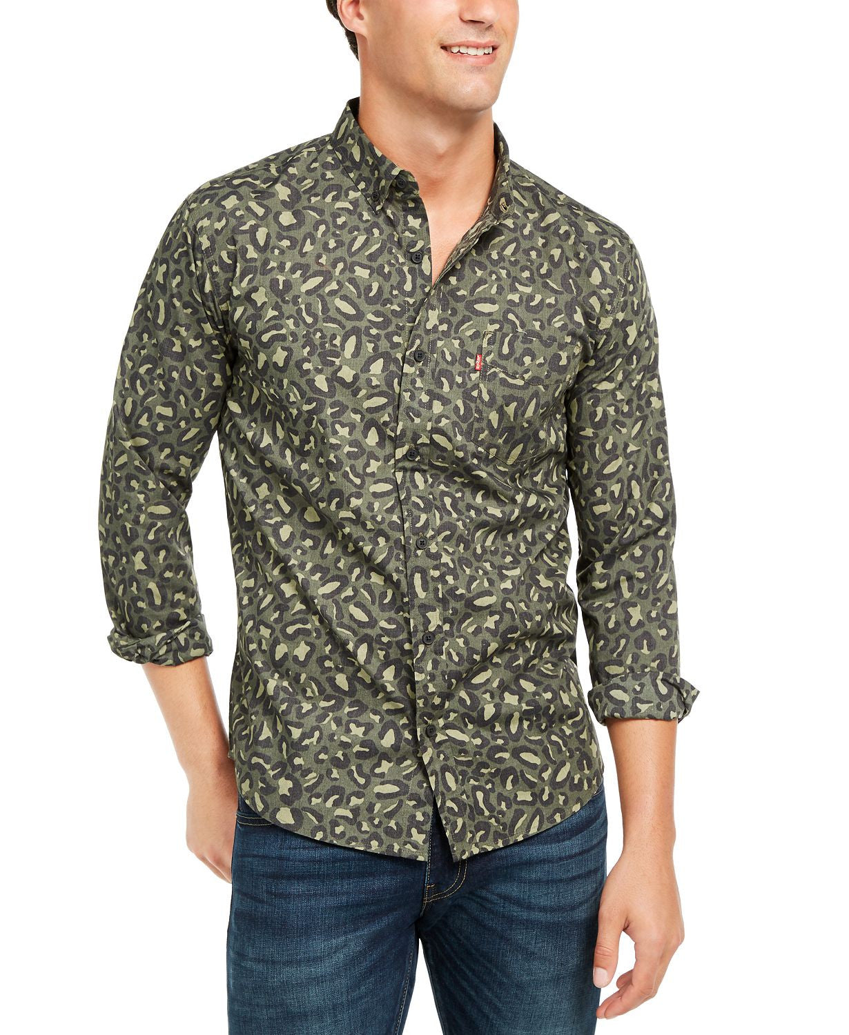 Levi's Animal Print Button-down Shirt Olive Night