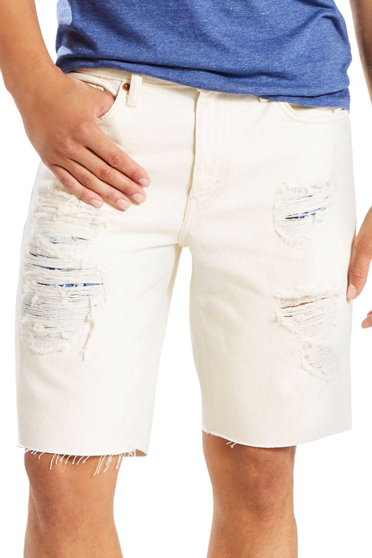 215a044a Levi's Popular-White 511™ Slim-Fit Cut-Off Ripped Jean Short ...