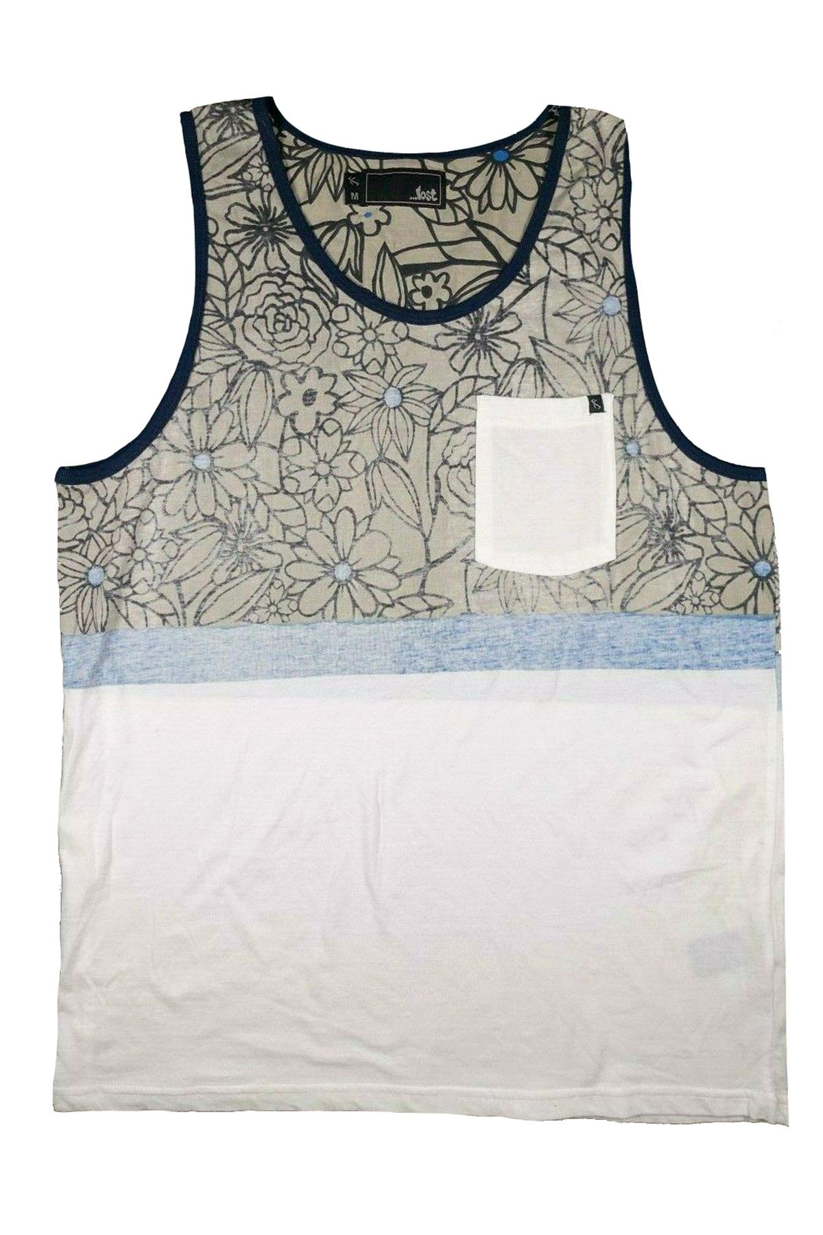...Lost Enterprises Grey/Blue/White Soulcraft Knit Tank Top