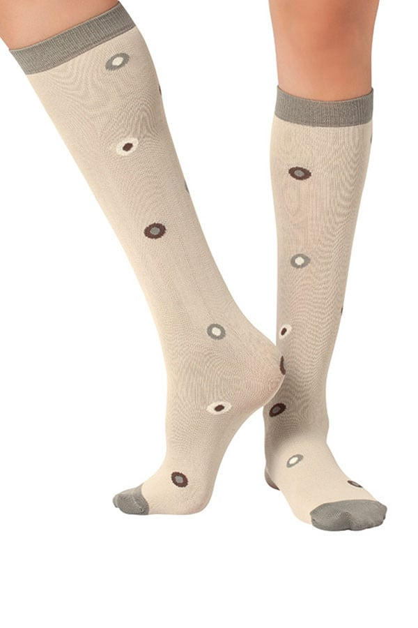 Lucci Beige Eyes Calf High Socks