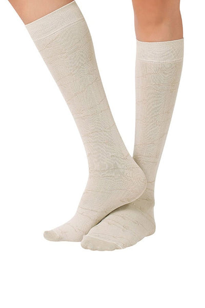 Lucci Beige Twigs Calf High Socks
