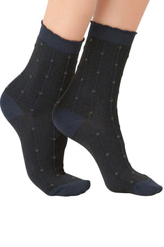 Lucci Black Freckles Crew Sock