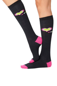 Lucci Black Hearts Calf High Socks