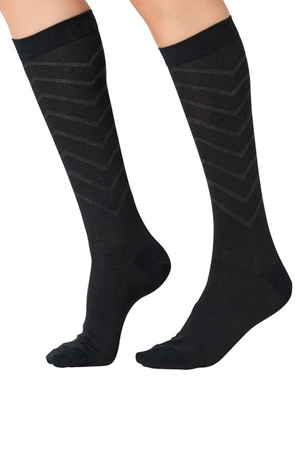 Lucci Black Relief Calf High Sock