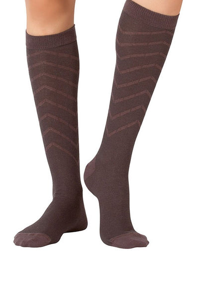Lucci Brown Relief Calf High Sock